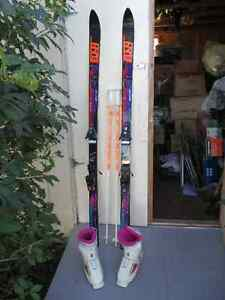 Ladies Downhill skis , poles and boots