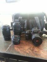 sony a700 camera and 4 lenses