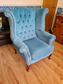 Chesterfield high Wing Back Arm chair in Teal Blue colour