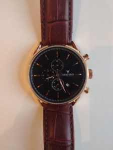 VINCERO Chrono S Watch - Rose Gold Case Black Dial 43mm Leather