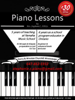 Piano lessons in mississauga by experienced teacher ($30/lesson)