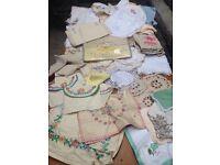 Job lot of vintage retro napkins table cloths dollie