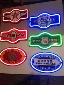 NEON  BEER SODA AND GASOLINE SIGNS