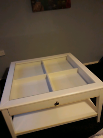 PENDING COLLECTION White Ikea coffee table with four section drawer