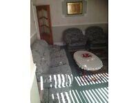 3 piece sofa set green upholstery 3/1/1