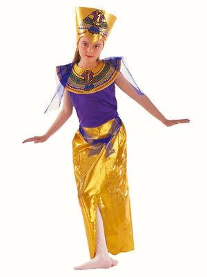 Mädchen Ägyptische Königin Prinzessin Kostüm Gold Outfit Büchertag 6-8 Neu
