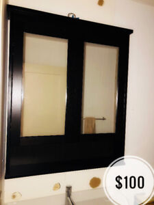 BN Ikea HEMNES Mirror cabinet with 2 doors, black-brown stain