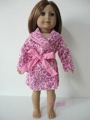 "Wholesale American girl 18"" Doll Clothes Leopard Pajamas Robe Sleep Coat 2pc"