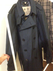 Burberry Mens Trench Coat Navy Blue Size 52