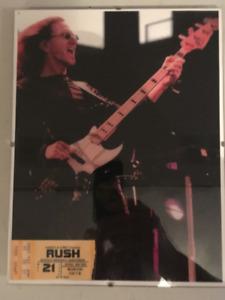 """Rush 8.5""""x11"""" Framed Photo Geddy Lee & Ticket Stub"""