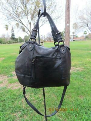 Olivia Harris black leather handbag shoulderbag purse