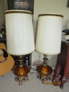 Pair of RETRO Vintage Amber glass Lamps with night light