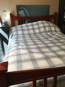 Full Size Solid Wood Bed Frame, Mattress, Box Spring and Dresser