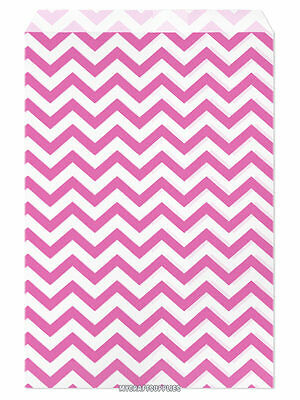 100 Flat Merchandise Paper Bags 6 X 9 Pink Chevron Stripes On White