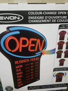 Color change open sign