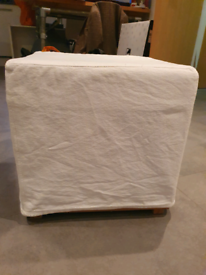 Cream canvas footstool with removable cover