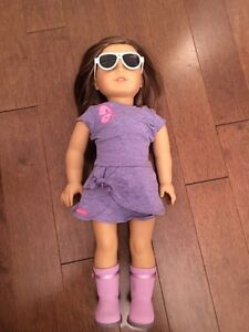 My American Girl  doll+ 3 different outfits + extras