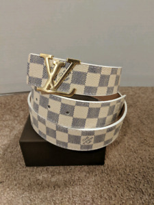 White Damier LV Belt