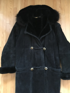 LONG SHEARLING & SUEDE BLACK WINTER COAT