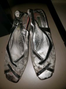 Silver Evening Shoes size 37 (size 6.5-7)