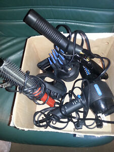 hair drier with 3 attachments for curl. hair, curl. iron & brush