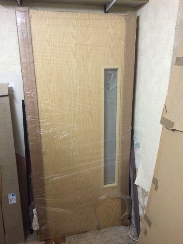 Office fire door 2040mm X 926mm X 44mm ash veneer inc glazed panel FD30