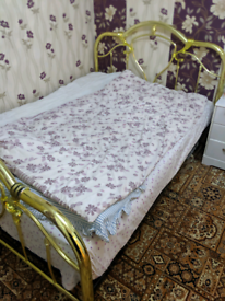 Golden double size bed frame