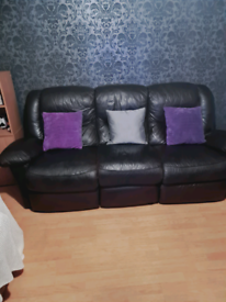 3 seater leather couch and chair