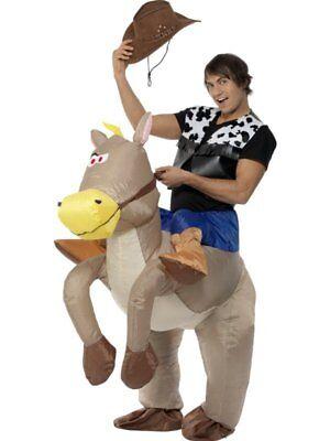 Aufblasbar Pferd Reite Em Cowboy & Falsch Beine oder Jockey Kostüm von Smiffys