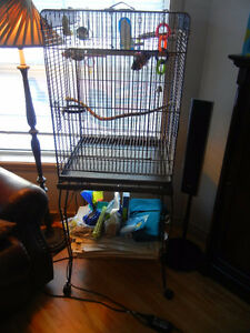 Large bird cage and stand euc