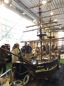 LARGE 120 YEAR OLD SAILING SHIP MODEL