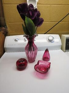 various Cranberry Glass pieces