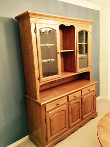 Antique Oak dining table and hutch