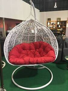 DOUBLE EGG SWING CHAIR WHITE COLOR WITH RED CUSHION Ravenhall Melton Area Preview