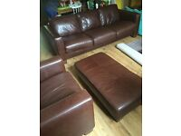 Brown leather 3 seater sofa, chair and foot stool
