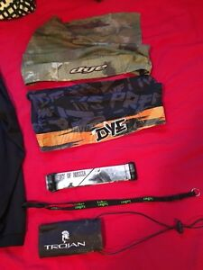 Paintball mask, pod pack, head wraps