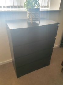 Ikea Malm chest of drawers in black