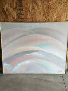 Two large pastel toned paintings