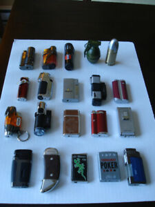 Collection 20 briquets ( lighters ) assortis ( 1-2-3-4 flammes )