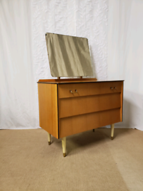 Mid century Avalon Yatton chest of drawers with mirror, dressing table