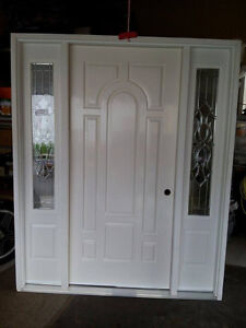 BRAND NEW FIBERGLAS DOOR WITH PEWTER GLASS INSERTS!!