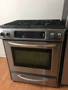 "Kitchen aide 30"" gas stainless steel stove range oven"