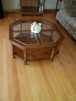 3 Piece Glass & Oak Coffee / End Table Set