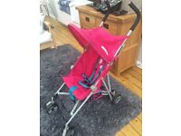 Pink Koochi buggy with raincover £25