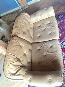 Vintage butterscotch leather Sofa+Loveseat
