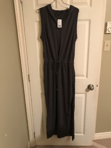 Cute Grey Forever 21 Cotton Maxi Dress with Hood - tags still on