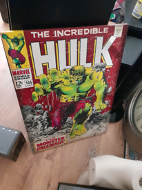 The incredible hulk comic poster on canvas. LARGE