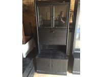 Black shelf side board unit solid wood