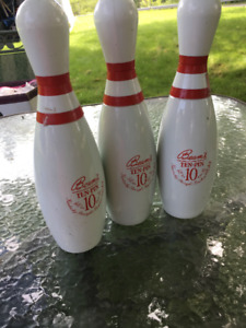 Lot of 3 Jim Beam Whiskey Bowling Pin Decanters