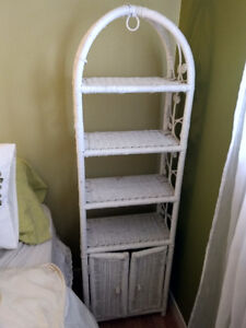 White wicker armoire/shelving